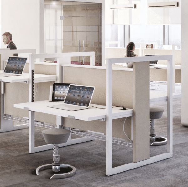 white and wood stand-up desk